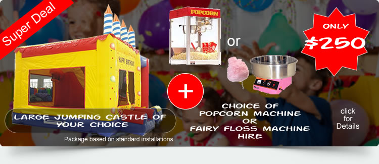 Jumping Castle, pop corn machine hire deals
