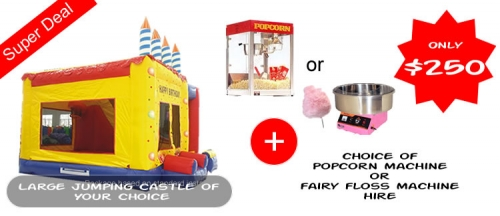 Large Castle Combo + Choice of Fairy Floss or Popcorn Machine Hire