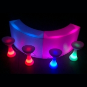2 x Curved Illuminated Bar 4x bar stools