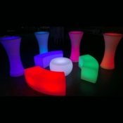 Illuminated coffee table, Bar Table & Curved Bench